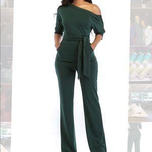Pants - Women's One Shoulder Wide Leg Jumpsuit with Belt